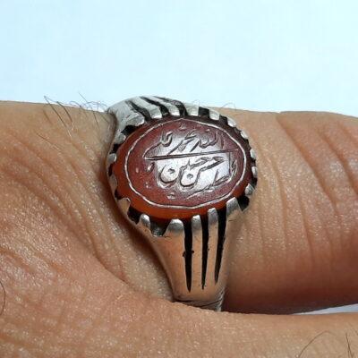 انگشتر قدیمی عقیق خطی 7217_5