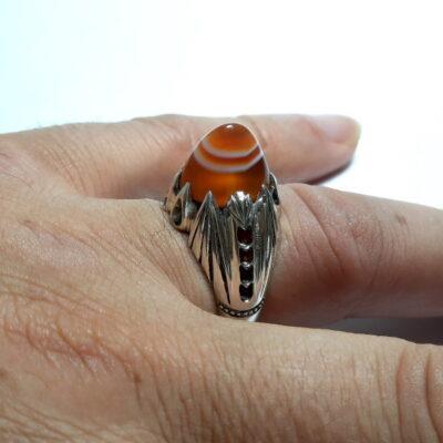 انگشتر عقیق سه پوست a503_5