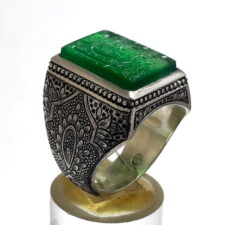 انگشتر عقیق سبز خطی 7130