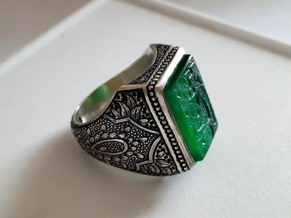 انگشتر عقیق سبز خطی 7130_5