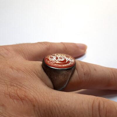 انگشتر قدیمی حکاکی قاجاری f519_6