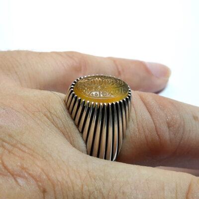 انگشتر عقیق خطی f521_4