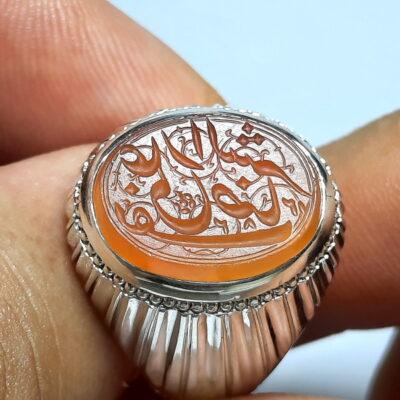 انگشتر خطی حکاکی قاجاری f523_2