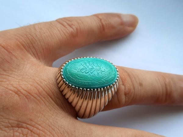 انگشتر مردانه فیروزه خطی f524_9