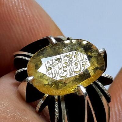 انگشتر یاقوت زرد خطی 7135_2
