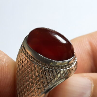 انگشتر جزع یمانی سرخ تیره اصل a510_1
