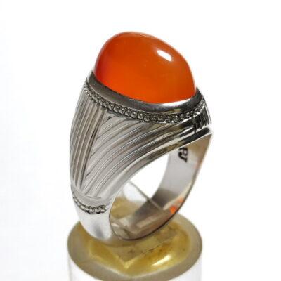 انگشتر مردانه عقیق پرتقالی یمن a512