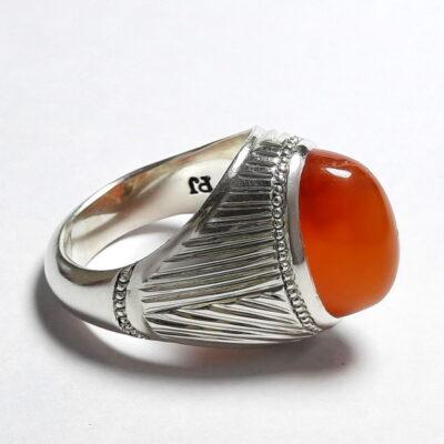 انگشتر مردانه عقیق پرتقالی یمن a512_1