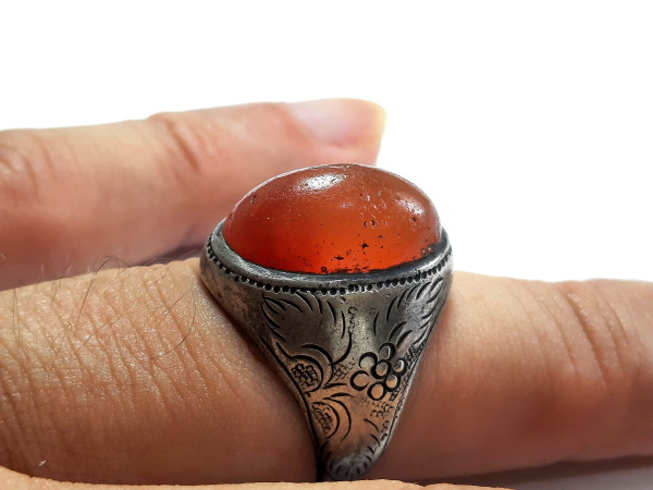 انگشتر مردانه عقیق پرتقالی یمن a512_4