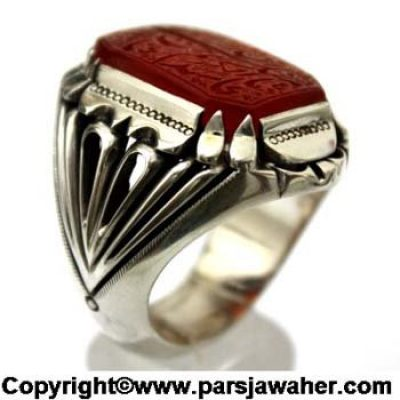 انگشتر مردانه عقیق خطی 2401