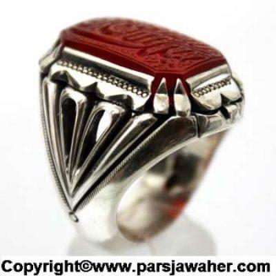 انگشتر نقره مردانه عقیق خطی 2402