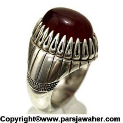 انگشتر عقیق یمنی سرخ مردانه 1058