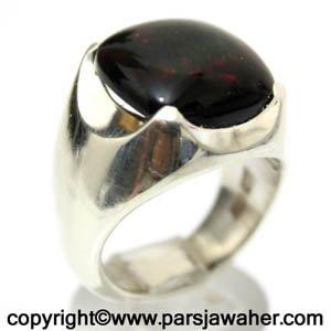 انگشتر اوپال سیاه درشت رکاب نقره
