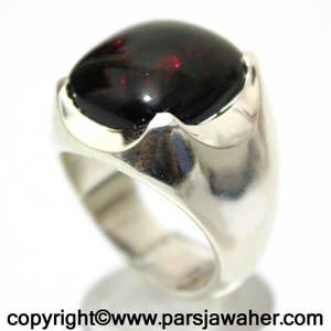 انگشتر رکاب نقره اوپال سیاه زیبا