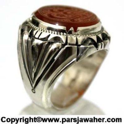 انگشتر عقیق خطی یا قدیم الاحسان 8372