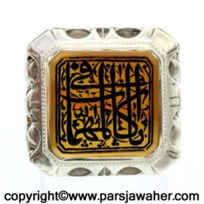 انگشتر مردانه خطی حکاکی دستی امضای رحیم 8384