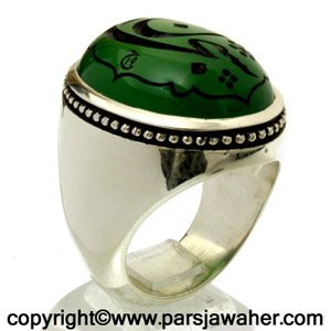 انگشتر عقیق سبز خطی 8308