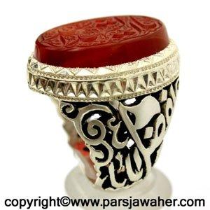 Yemeni Red Aqeeq Silver Ring Mobin 2608