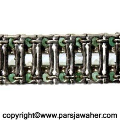 دستبند نقره زنانه آکومارین زمرد 188