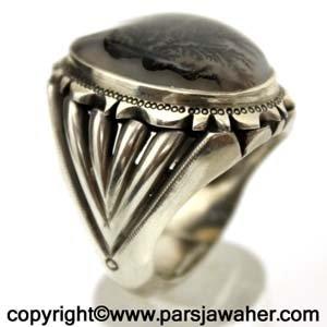 انگشتر نقره مردانه عقیق شجر 703