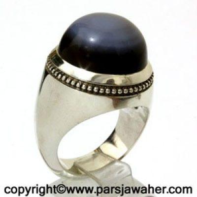 انگشتر جزع دو پوست یمنی 3019