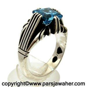 انگشتر نقره توپاز آبی 252