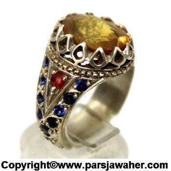 انگشتر نقره یاقوت زرد جواهری 340