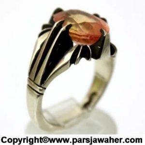 انگشتر مردانه یاقوت زرد چهار چنگ 339