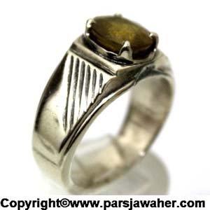 انگشتر نقره مردانه یاقوت زرد 345