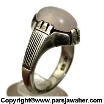 انگشتر عقیق یمنی سفید تراشدار 160