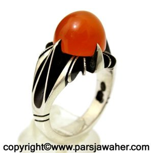 انگشتر عقیق پرتقالی یمنی 366