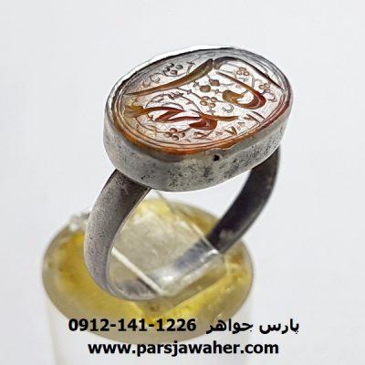 انگشتر قدیمی قاجاری عقیق f380
