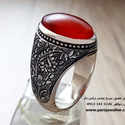 انگشتر عقیق سرخ یمنی تراش دار 7089