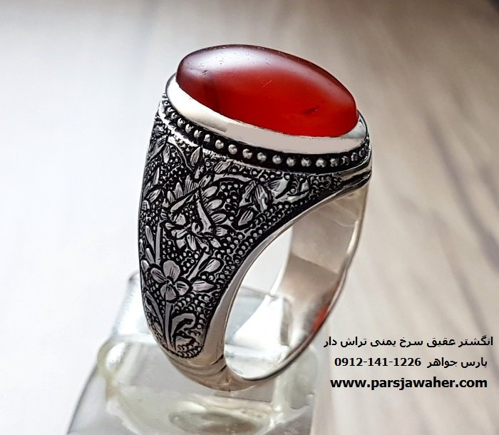 انگشتر عقیق سرخ یمنی 7089