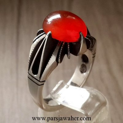 red yemeni agate silver ring 213