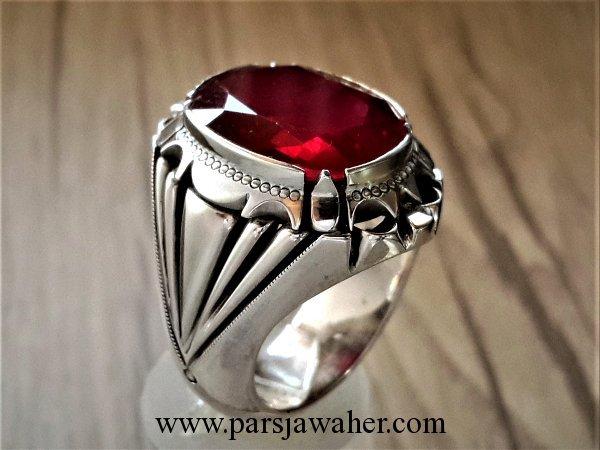 انگشتر مردانه نقره یاقوت سرخ 3115
