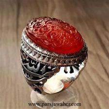 انگشتر مردانه رکاب نقره دست ساز عقیق 2591