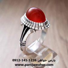 انگشتر عقیق یمنی سرخ تراشدار a143