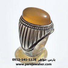 انگشتر عقیق زرد تراش دار یمنی f375