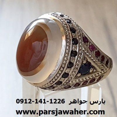 رکاب انگشتر نقره مردانه دست ساز عقیق 192