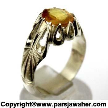 انگشتر مردانه یاقوت زرد نقره 1012