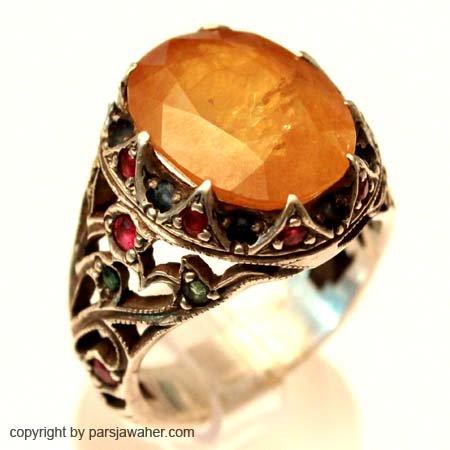 انگشتر مردانه یاقوت زرد نقره 1020