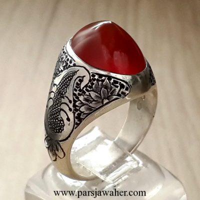 yemeni agate engraving silver ring 211