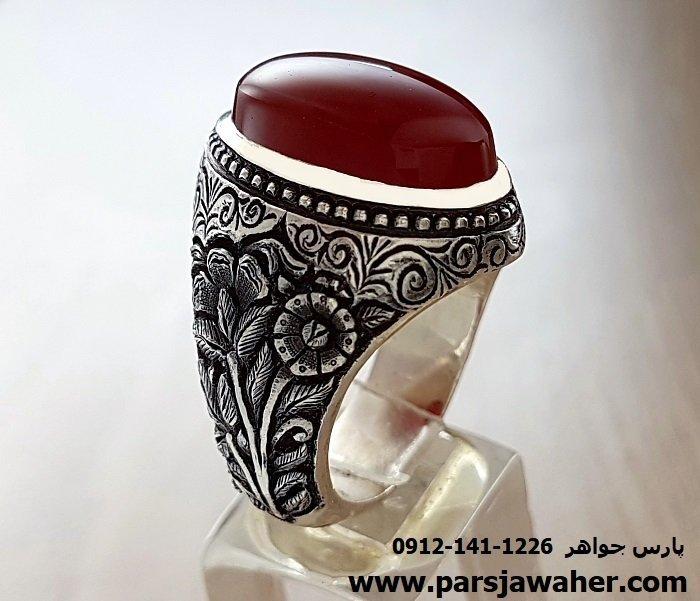 قیمت انگشتر قلم زنی مردانه عقیق 95