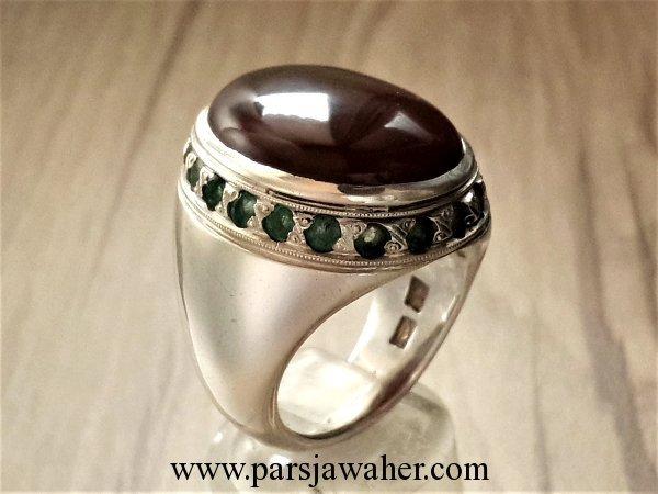 انگشتر نقره مردانه جزع یمانی 14445