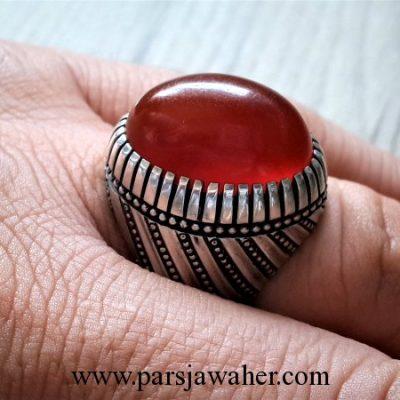 انگشتر نقره عقیق سرخ اصل طبیعی تراش ثبتی 1004
