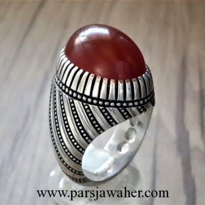 انگشتر نقره عقیق تراش دار یمنی 1004