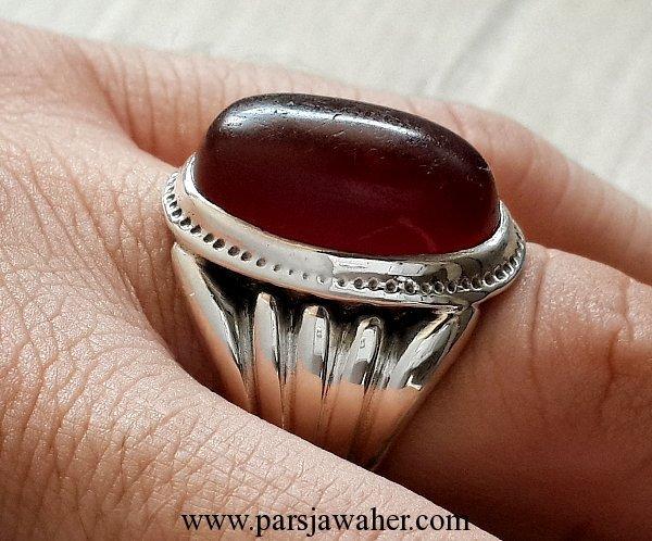انگشتر نقره عقیق یمنی تراش دار 1006